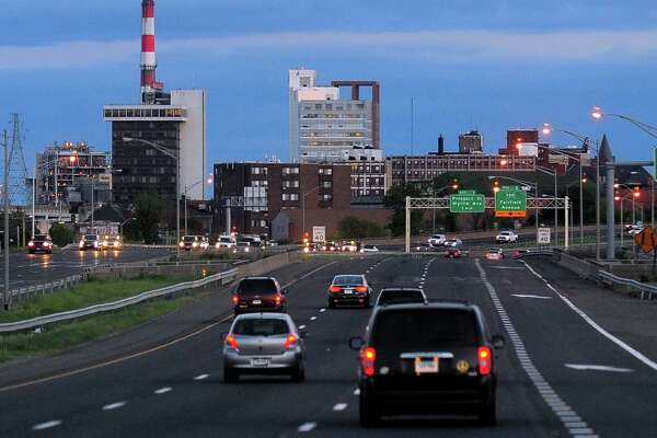 A view of the downtown Bridgeport skyline seen from Route 8 on Wednesday May 13, 2015. A recent poll found Bridgeport to fall to dead last as a tourist destination.