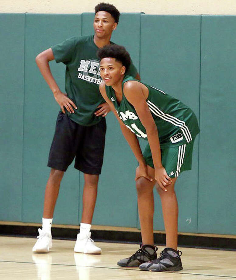 Twins Shamar (left) and Lamar Wright during a summer, 2017 basketball practice during their days at Murrieta Mesa High School in Murrieta, Calif. Photo: Photo By Frank Bellino, The (Riverside, Calif.) Press-Enterprise