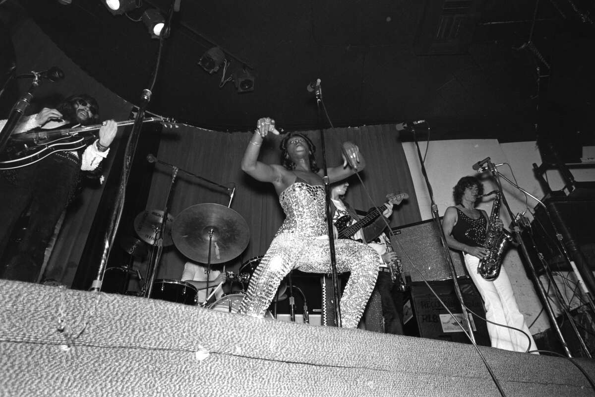 Disco singer Sylvester aka Sylvester James performs onstage with his band at the Whisky A-Go-Go nightclub in November 1972 in Los Angeles.
