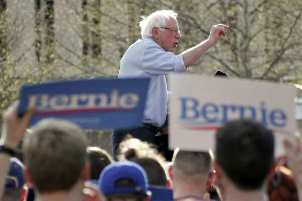 Presidential hopeful, Sen. Bernie Sanders addresses a crowd during a campaign rally, Sunday, April 14, 2019, in Pittsburgh. (AP Photo/Keith Srakocic)