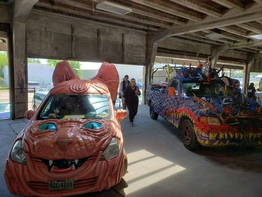 """Kimi Bainter, 50, of Montgomery won first place for Best Artcar in Houston with """"Wrinkles, the hairless kitty"""" at the 2019 Houston Art Car Parade last Saturday. Photo: Submitted Photo / Submitted Photo"""