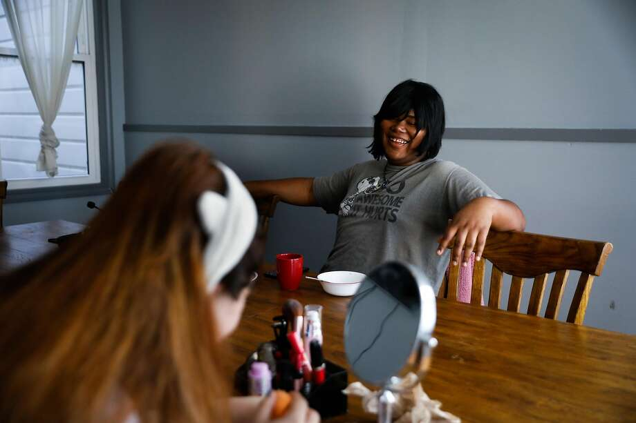 Blackburn chats over breakfast with her housemate Alice, who is also a trans woman. Photo: Gabrielle Lurie / The Chronicle