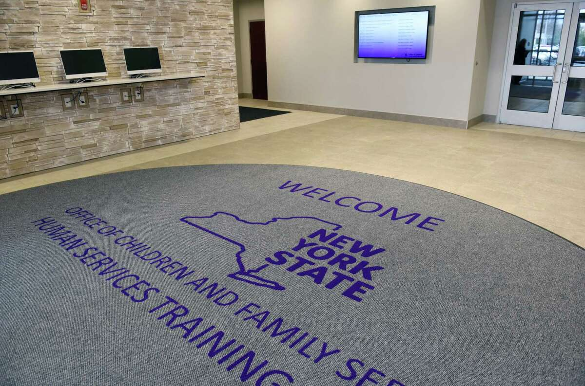 The lobby of the New York State Office of Children and Family Services Human Services Training Center on Thursday, April 18, 2019 in East Greenbush, NY. (Phoebe Sheehan/Times Union)