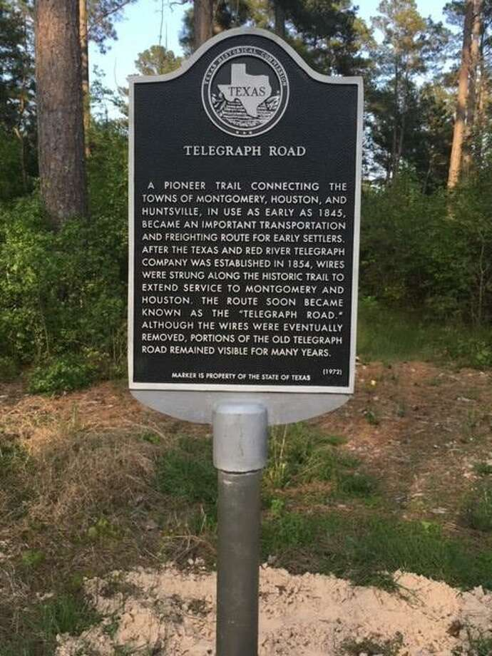 """The replaced """"Telegraph Road"""" state historical marker installed by the Texas Department of Transportation in March. The marker stands a few miles north of Montgomery on FM 149 and replaces a similar marker damaged and lost when struck by a vehicle many years ago. Photo: Photo Courtesy Larry Foerster"""