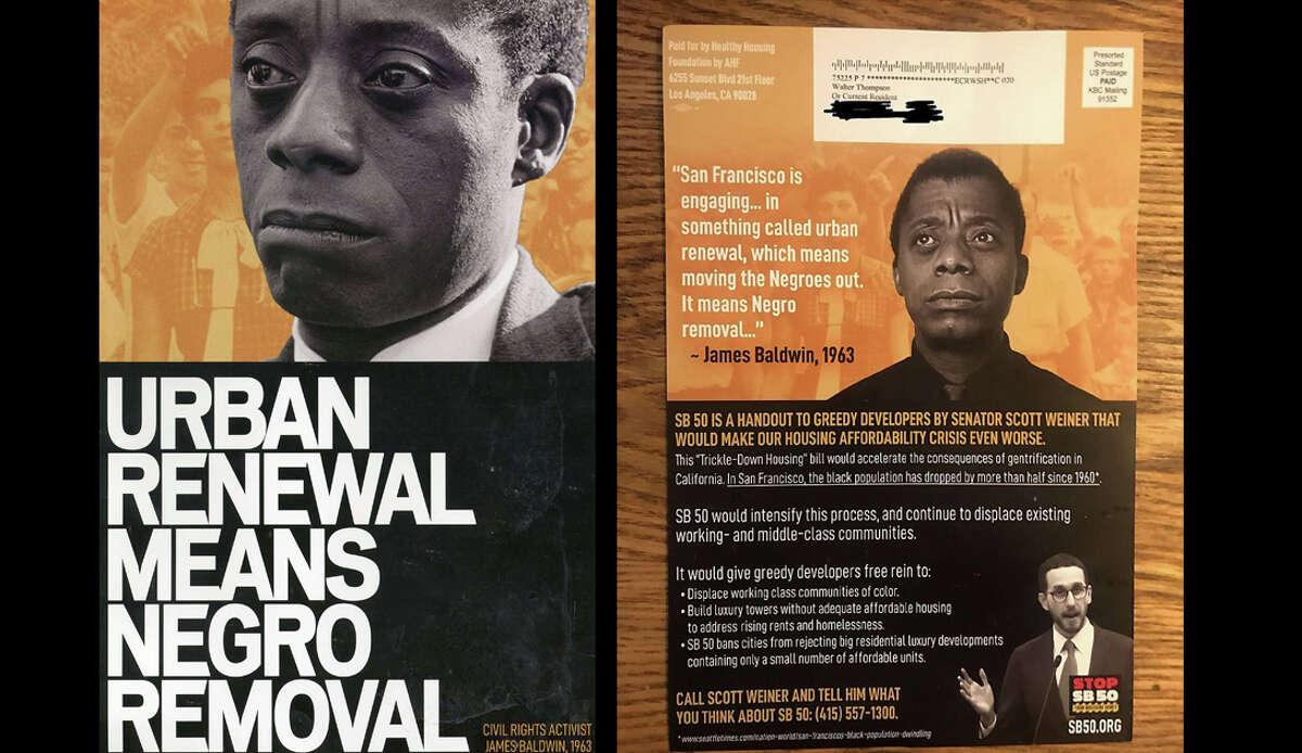 An anti-SB 50 mailer featuring James Baldwin.