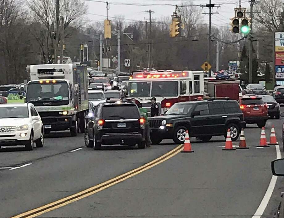A crash on Newtown Road in Danbury, Conn., on April 18, 2019. Photo: Contributed Photo / PatriciaAnn O'Neill / Contributed Photo / Connecticut Post Contributed