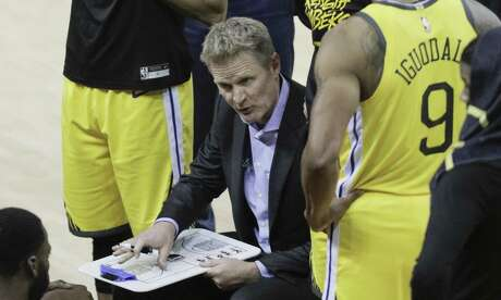 Golden State Warriors head coach Steve Kerr is seen during a timeout in the fourth quarter during game 2 of the Western Conference Playoffs between the Golden State Warriors and the Los Angeles Clippers at Oracle Arena on Monday, April 15, 2019 in Oakland, Calif.