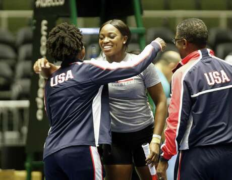 Sloane Stephens is greeted by coaches Jean Desdunes and James Jackson before her practice in preparation for United States facing SwiSwitzerland in a Fed Cup World Group playoff on Wed, April 17 , 2019.