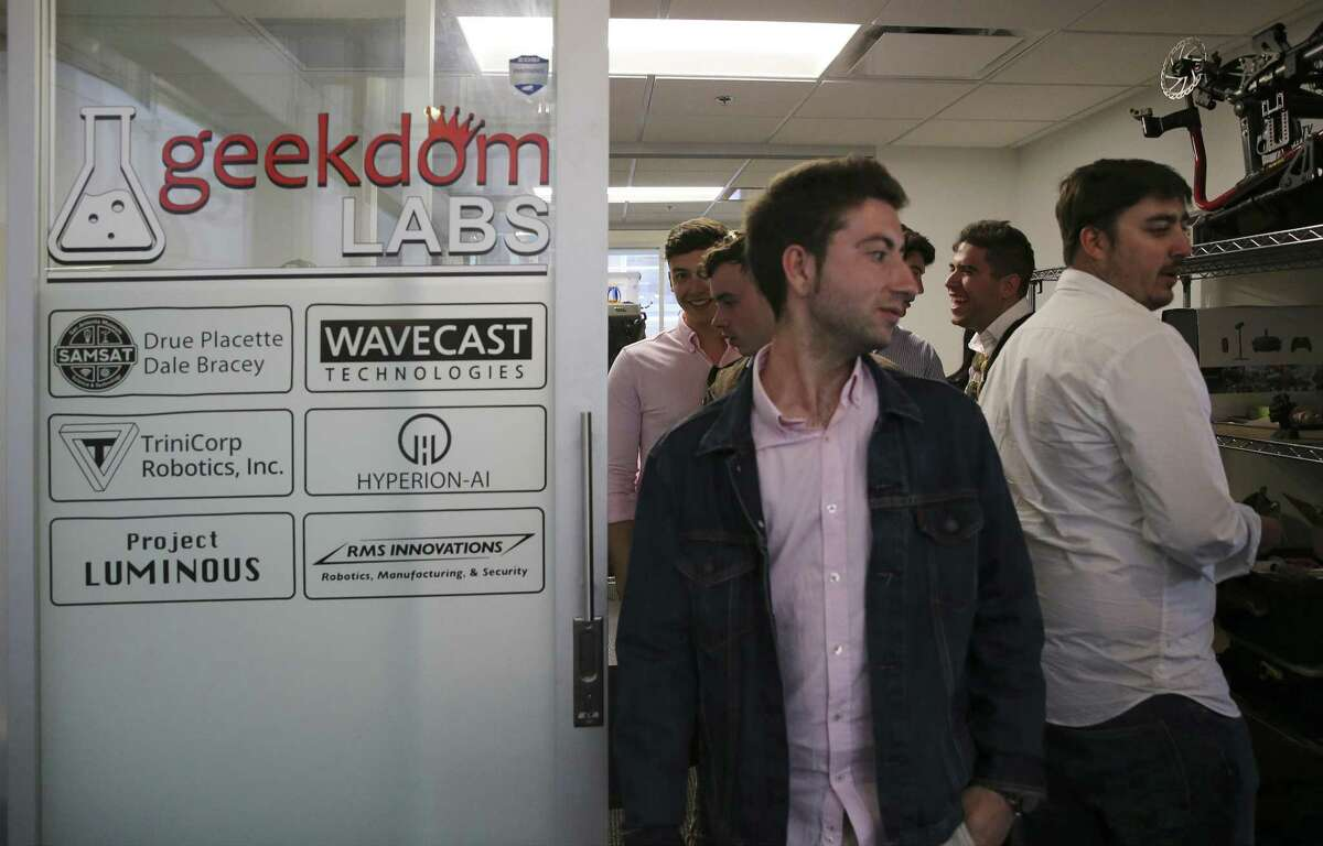 """Students from Universidad Pontifica de Salamanca in Spain take a tour of Geekdom on Thursday, Apr. 18, 2019. They are on their first Reciprocal Visit with Trinity University, a weeklong trip to San Antonio to learn about the city, American politics and immigration. On Thursday, the students had a lecture with Mariela Jasso, who works for RAICES, about """"the immigration situation in South Texas"""" and visited the Velocity Texas Business Incubator and Geekdom. Trinity students visited Salamanca this fall, and """"invited their Spanish hosts to visit here,"""" where they've seen City Council, the Alamo and learned about San Antonio's history. (Kin Man Hui/San Antonio Express-News)"""
