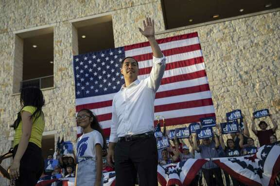 Julián Castro, a candidate for the Democratic presidential nomination, waves to a crowd after taking the stage during a rally at Hemisfair Park in San Antonio, Texas, April 10, 2019. Castro brings youth and diversity to the Democratic presidential field. But, overshadowed by some peers, he has failed to get traction in early polls. (Tamir Kalifa/The New York Times)