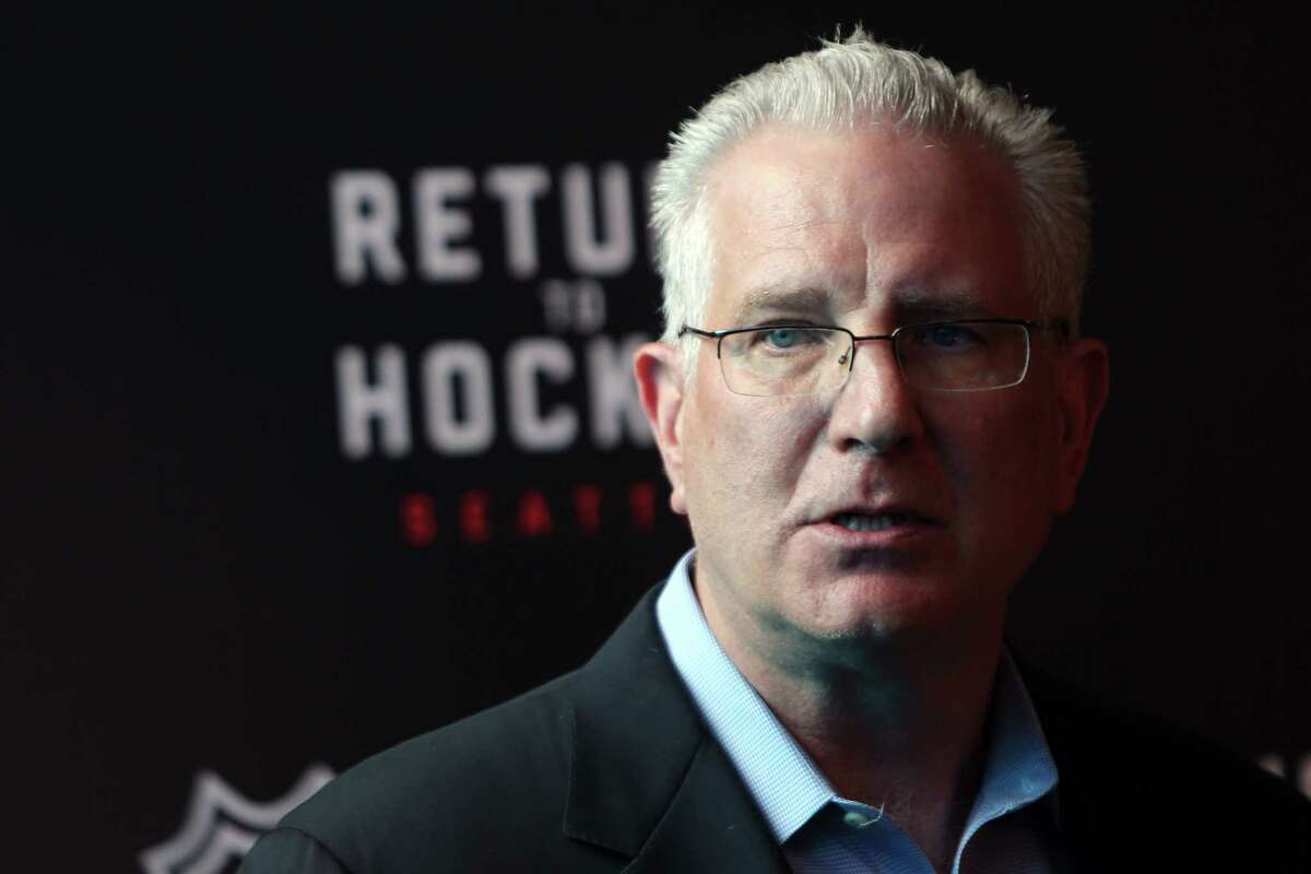 CEO of Seattle Hockey Partners Tod Leiweke speaks during a press conference about the future of the Seattle Center Arena, Thursday, April 18, 2019. Construction is expected to be finished by summer 2021. (Genna Martin, Seattlepi.com)