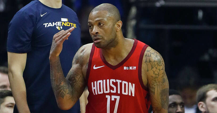 PHOTOS: Rockets-Jazz Game 2 Houston Rockets forward PJ Tucker (17) celebrates a made three pointer during the first half of game 2 during  the NBA playoffs at the Toyota Center in Houston, Wednesday, April 17, 2019. Browse through the photos to see action from the Rockets' win over the Jazz in Game 2. Photo: Karen Warren/Staff Photographer / © 2019 Houston Chronicle