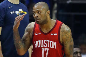 Houston Rockets forward PJ Tucker (17) celebrates a made three pointer during the first half of game 2 during the NBA playoffs at the Toyota Center in Houston, Wednesday, April 17, 2019.
