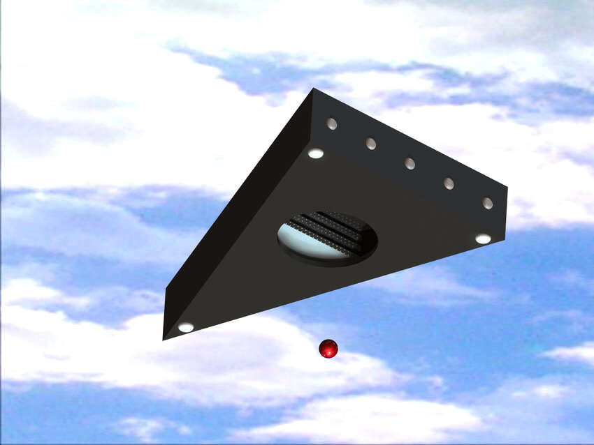 An illustration of a UFO that a witness said they saw in 1985 in Hudson Valley. The witness said it was the size of a football stadium, was silent, and could see multiple levels inside of it.