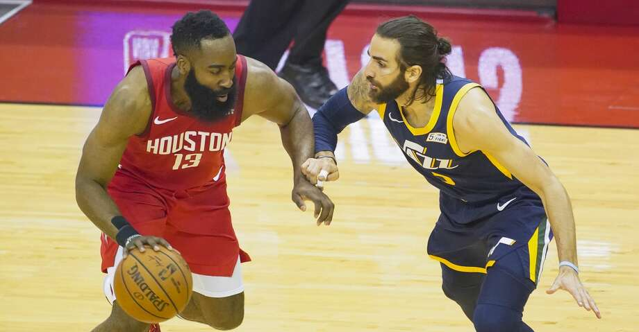 PHOTOS: Rockets game-by-game Houston Rockets guard James Harden (13) drives against Utah Jazz guard Ricky Rubio (3) during the first half of game 2 of the NBA playoffs at the Toyota Center in Houston, Wednesday, April 17, 2019. Browse through the photos to see how the Rockets fared in each game this season. Photo: Elizabeth Conley/Staff Photographer