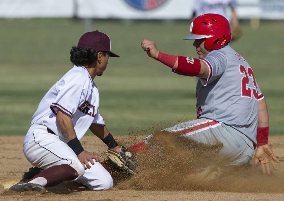 Lee's Niko Rubio puts the tag on Odessa's Bobby Salinas for an out at second 04/18/19 at Ernie Johnson Field. Tim Fischer/Reporter-Telegram Photo: Tim Fischer/Midland Reporter-Telegram