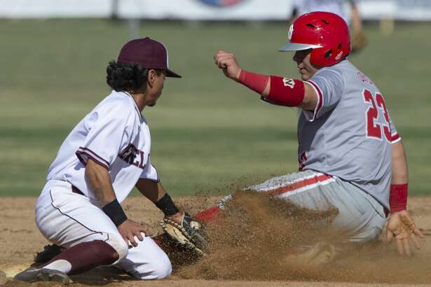 Lee's Niko Rubio puts the tag on Odessa's Bobby Salinas for an out at second 04/18/19 at Ernie Johnson Field. Tim Fischer/Reporter-Telegram