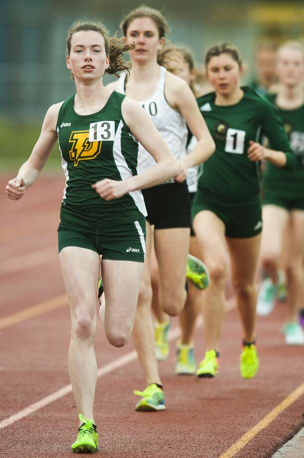 Dow's Ana Tucker competes in the 1600 meter run during the Graves/Swayze Relays on Thursday, April 18, 2019 at Midland Community Stadium. (Katy Kildee/kkildee@mdn.net) Photo: (Katy Kildee/kkildee@mdn.net)