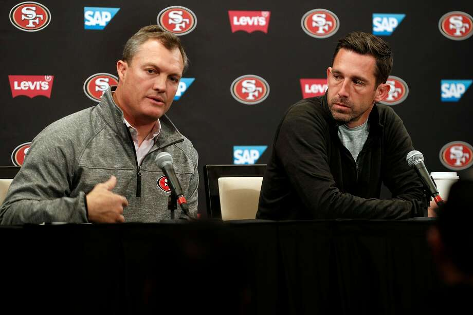 San Francisco 49ers' general manager John Lynch, (left) and head coach Kyle Shanahan hold the final press conference of the season at Levi's Stadium in Santa Clara, on Tues. January 2, 2018. Photo: Michael Macor / The Chronicle