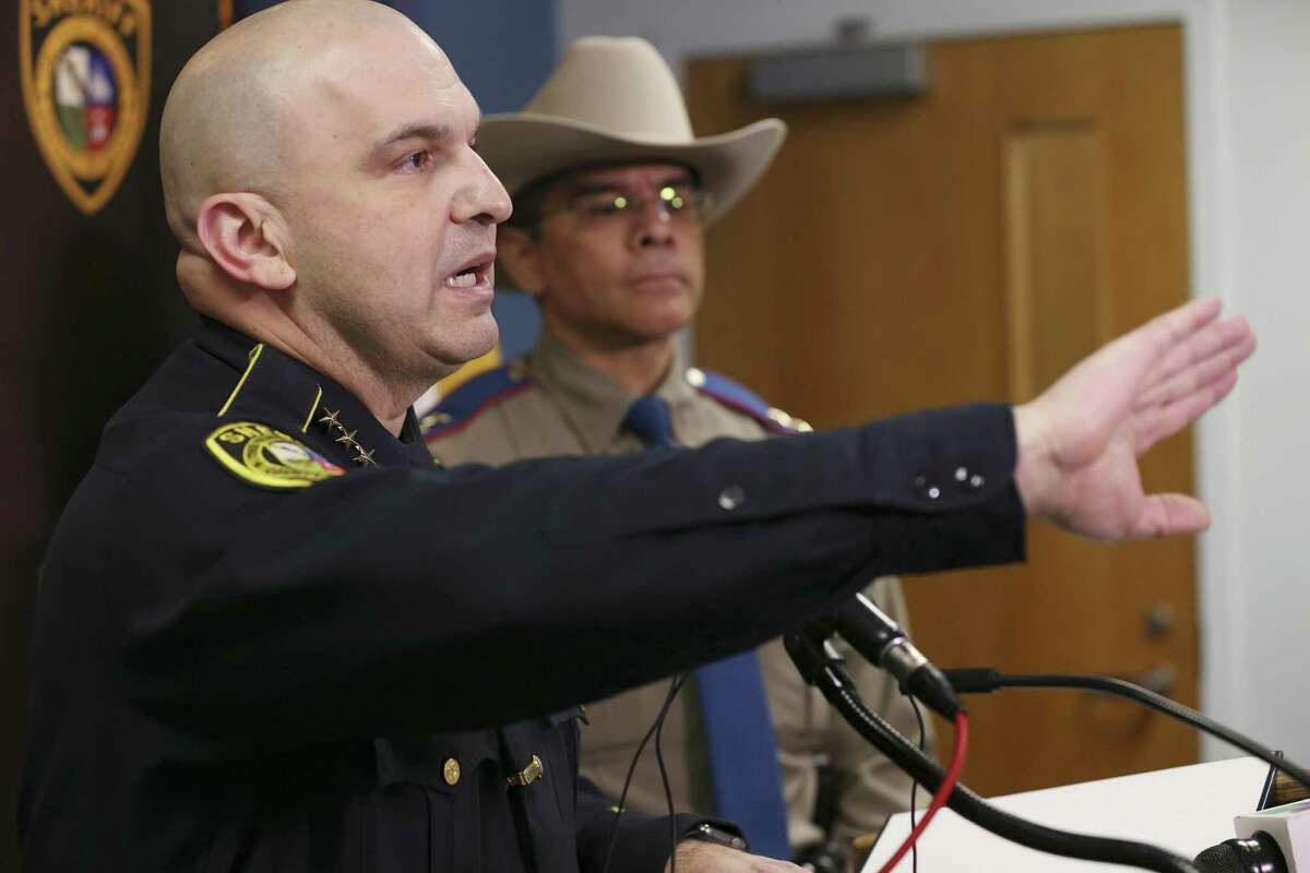 During a press conference on Jan. 28, Bexar County Sheriff Javier Salazar explains details on the Friday night shooting that left K-9 Deputy Chucky dead. Behind Salazar is Texas Department of Public Safety Regional Director Phillip Ayala. The suspected shooter was identified as Matthew Reyes Mireles, 38, who got into a chase with law enforcement officer in Karnes County. Mireles was indicted by a grand jury on numerous charges, including killing the police dog and aggravated assault on peace officers for allegedly pointing his gun at them.