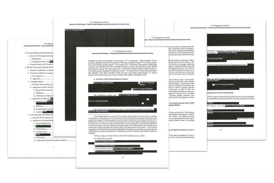 Redacted pages from the report by the special counsel, Robert Mueller, into Russian interference in the 2016 election. The report revealed a frantic, monthslong effort by President Donald Trump to thwart the investigation, cataloging TrumpÕs attempts to escape an inquiry that imperiled his presidency from the start. (Department of Justice via The New York Times) -- EDITORIAL USE ONLY -- Photo: DEPARTMENT OF JUSTICE,  HO / NYT / DEPARTMENT OF JUSTICE