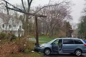 A crash on Wedgewood Road in Westport, Conn., on April 18, 2019.