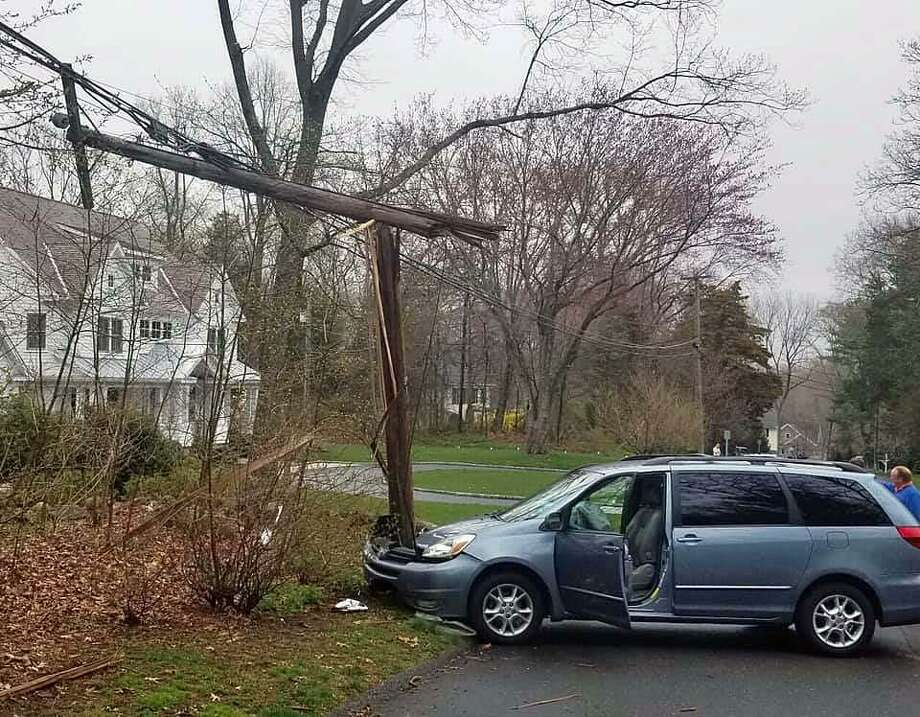A crash on Wedgewood Road in Westport, Conn., on April 18, 2019. Photo: Contributed Photo / Westport Fire Department / Contributed Photo / Connecticut Post Contributed