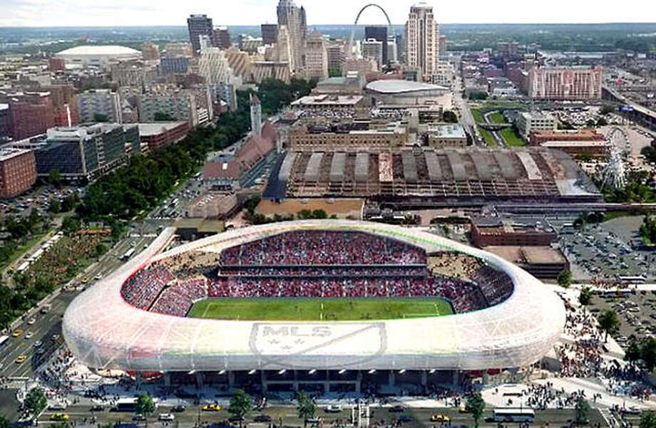 The proposed MLS soccer stadium, which would be built next to St. Louis Union Station, would become a reality if, as expected, Major League Soccer awards an expansion franchise to St. Louis. An architect's rendering of the proposed stadium is shown. Photo: File Photo