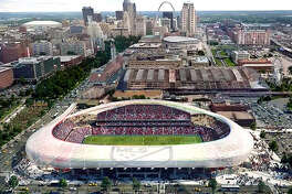 The proposed MLS soccer stadium, which would be built next to St. Louis Union Station, would become a reality if, as expected, Major League Soccer awards an expansion franchise to St. Louis. An architect's rendering of the proposed stadium is shown.