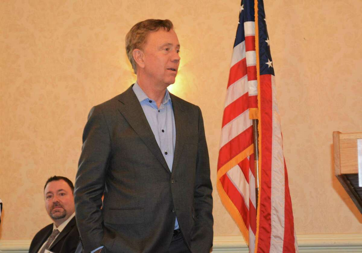 Gov. Ned Lamont prepares to give the keynote address at the 2019 annual meeting of the Northwest Connecticut Chamber of Commerce.