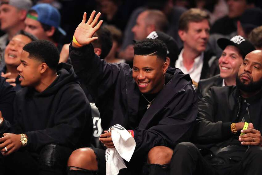 NEW YORK, NEW YORK - APRIL 18: Saquon Barkley of the New York Giants attends game three of Round One of the 2019 NBA Playoffs between the Brooklyn Nets and the Philadelphia 76ers at Barclays Center on April 18, 2019 in the Brooklyn borough of New York City. NOTE TO USER: User expressly acknowledges and agrees that, by downloading and or using this photograph, User is consenting to the terms and conditions of the Getty Images License Agreement. (Photo by Elsa/Getty Images)