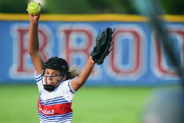 West Brook's Jada Bryant pitches during the game against Baytown Sterling at West Brook High School on Thursday. West Brook fell to Sterling 8-5. Photo taken on Thursday, 04/18/19. Ryan Welch/The Enterprise