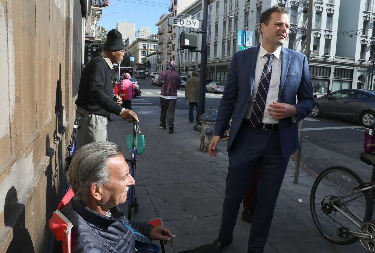 Supervisor Matt Haney (right) talks with Greg Shapazian (left) on Leavenworth at Eddy streets on Wednesday, April 17, 2019, in San Francisco, Calif. Supervisor Haney has a package of 10 proposals he's taking to the Board of Supervisors to make our streets cleaner.