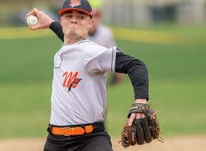 Mohonasen pitcher Drew Coelho during a Colonial Council matchup against Voorheesville at Voorheesville High School on Thursday, April 18, 2019. (Jim Franco/Special to the Times Union.)