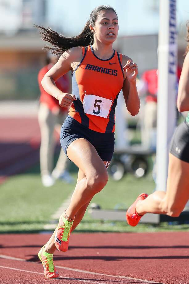 Brandeis senior Taigen Galvan won the 800 meters at the 27/28-6A area meet in 2:21.76 seconds and the 1,600 in 5:17.04. She hopes to qualify for her first state meet at next weekend's regionals. Photo: Photos By Marvin Pfeiffer /Staff Photographer / Express-News 2019