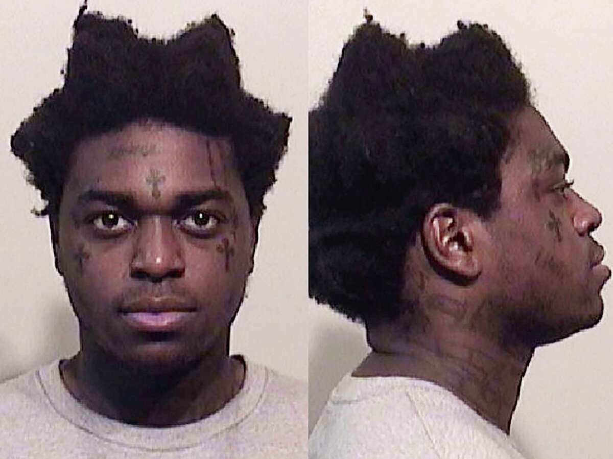 In these photos provided by the Niagara County Sheriff's Office shows Bill Kapri, also known as Kodak Black, who was arrested with three others at the Lewiston-Queenston International Bridge, Wednesday, April 17, 2019 in Niagara Falls, N.Y. (Niagara County Sheriff's Office via AP)