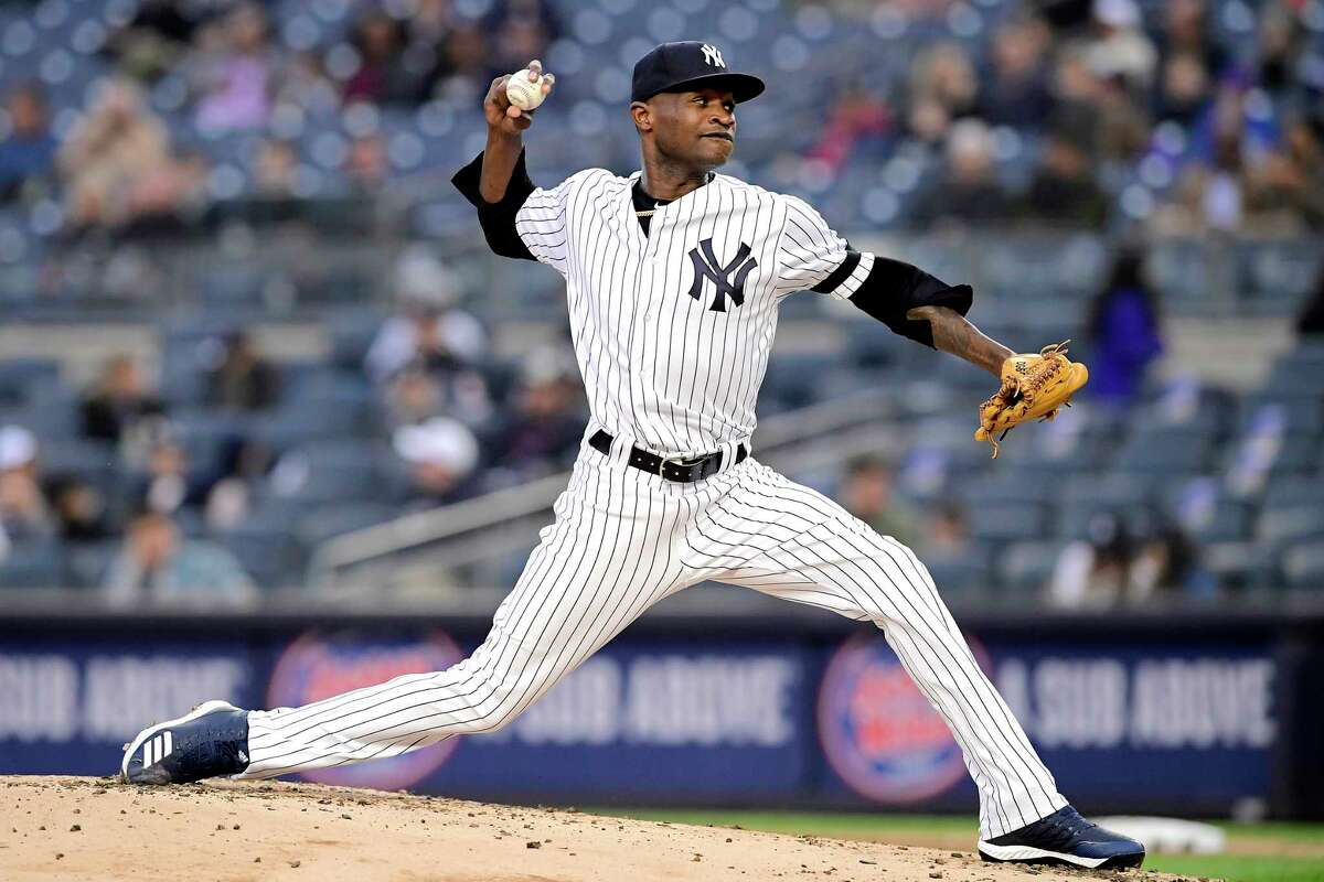 NEW YORK, NEW YORK - APRIL 18: Domingo German #55 of the New York Yankees delivers the pitch during the second inning against the Kansas City Royals at Yankee Stadium on April 18, 2019 in New York City. (Photo by Steven Ryan/Getty Images)