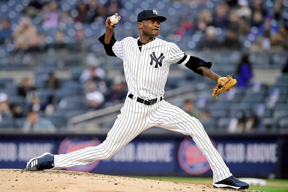 NEW YORK, NEW YORK - APRIL 18:  Domingo German #55 of the New York Yankees delivers the pitch during the second inning against the Kansas City Royals at Yankee Stadium on April 18, 2019 in New York City. (Photo by Steven Ryan/Getty Images) Photo: Steven Ryan / 2019 Getty Images