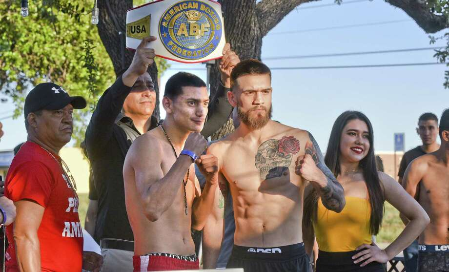Laredoan Jorge Castaneda, right, will fight Pedro Amigon for the American Boxing Federation Super Featherweight Title Friday night at Fight Fest 18 held at Sames Auto Arena. Photo: Danny Zaragoza /Laredo Morning Times / Laredo Morning Times