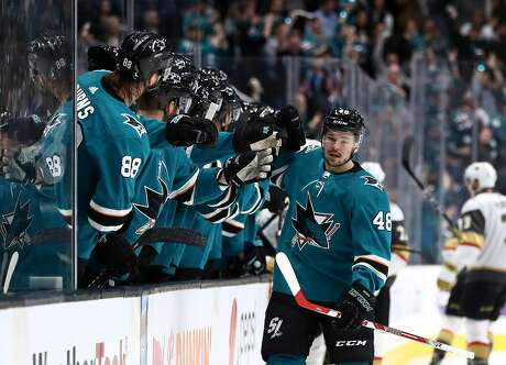 SAN JOSE, CALIFORNIA - APRIL 18:   Tomas Hertl #48 of the San Jose Sharks is congratulated by teammates after he scored in the first period against the Vegas Golden Knights in Game Five of the Western Conference First Round during the 2019 NHL Stanley Cup Playoffs at SAP Center on April 18, 2019 in San Jose, California. (Photo by Ezra Shaw/Getty Images)