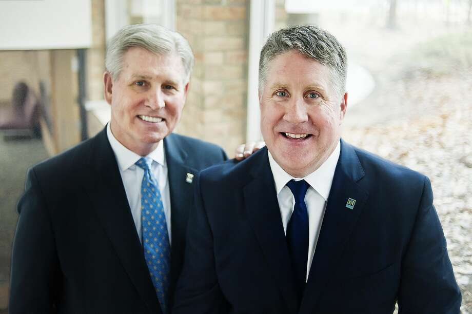 Dr. Kent MacDonald, right, the incoming President of Northwood University, poses for a portrait alongside current President Keith Pretty, left, on Thursday, April 18, 2019 at the university. (Katy Kildee/kkildee@mdn.net) Photo: (Katy Kildee/kkildee@mdn.net)