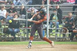 Dobie's Taylor Pleasants, rips a first-inning single to right field. She would end the night with a 3-for-3 effort at the plate to go with two intentional walks.