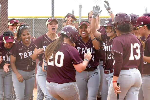 TAMIU clinched a Heartland Conference tournament spot for the 11th straight year Thursday afternoon after splitting its doubleheader at St. Mary's winning 3-0 in 10 innings in Game 1 before falling 8-2 in Game 2. In the opening game, Shelby Edwards (20) had a two-run double in the 10th after Briana Arredondo's tiebreaking single.