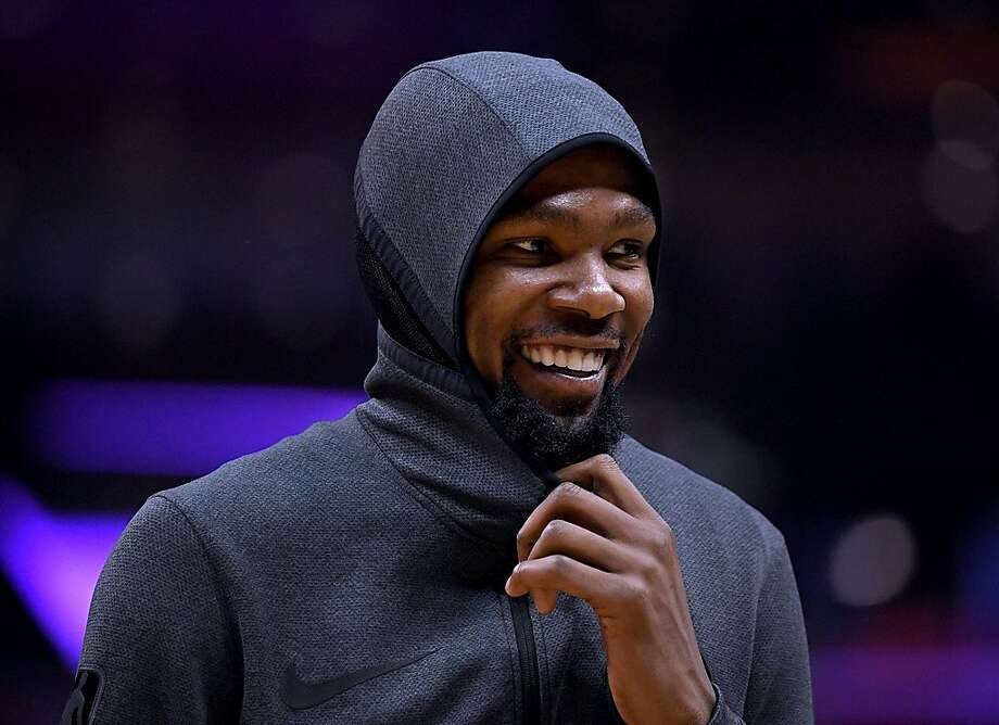 Kevin Durant #35 of the Golden State Warriors smiles during a 132-105 win over the LA Clippers during Game Two of Round One of the 2019 NBA Playoffs at Staples Center on April 18, 2019 in Los Angeles, California. Photo: Harry How / Getty Images