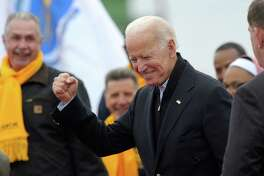 Former US vice president Joe Biden leaves a rally organized by UFCW Union members to support Stop and Shop employees on strike throughout the region at the Stop and Shop in Dorchester, Massachusetts, April 18, 2019. - The 76-year-old Biden has not yet officially thrown his hat in the ring for the 2020 presidential election. (Photo by JOSEPH PREZIOSO / AFP)JOSEPH PREZIOSO/AFP/Getty Images