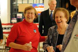 Mary McNamee, right, with Beth Krumeich in 2013. On April 28, Greenwich Democrats will honor the achievements of McNamee and Nancy Brown at the Democratic Town Committee's first Annual Awards Celebration.