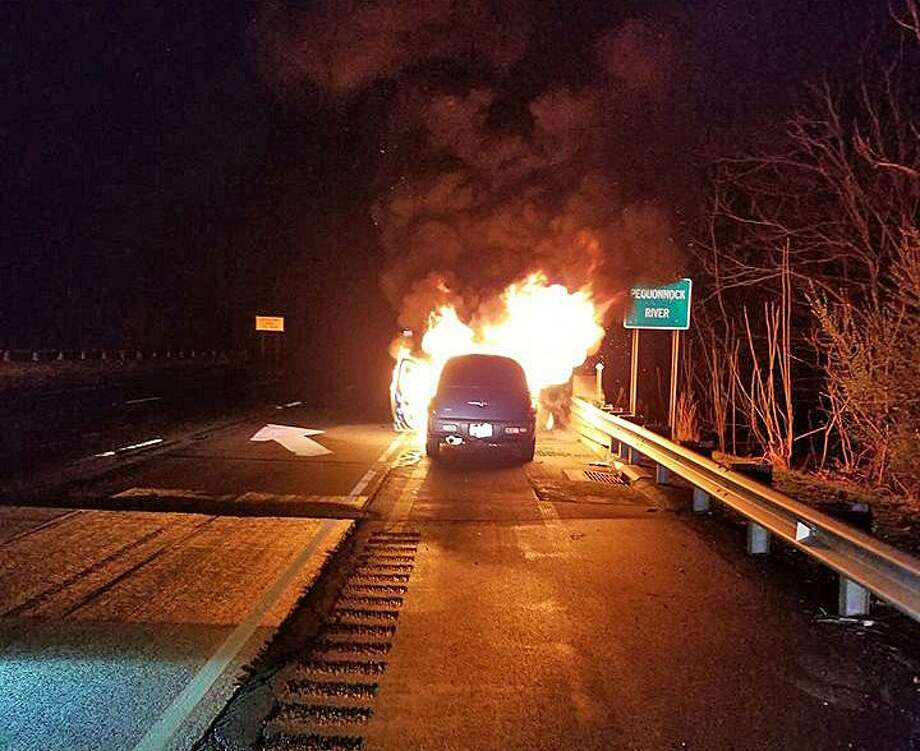 The Long Hill Fire Department quickly extinguished a car fire on Route 25 north in Trumbull early on Friday, April 19, 2019 The fire was reported at 4:45 a.m. There were no reported injuries. Photo: Long Hill Fire Department Photo.