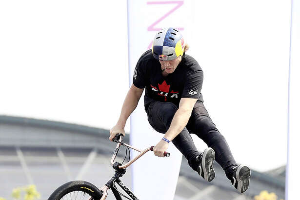 A BMX freestyle park cyclist competes at the FISE urban sports festival, which kicked off Friday at the former Hiroshima Municipal Stadium in Naka Ward, Hiroshima. About 490 athletes from 39 countries are competing in seven sports, including bouldering and BMX freestyle park, which will both debut at the 2020 Tokyo Olympics, and break dancing, which could debut at the 2024 Paris Olympics.