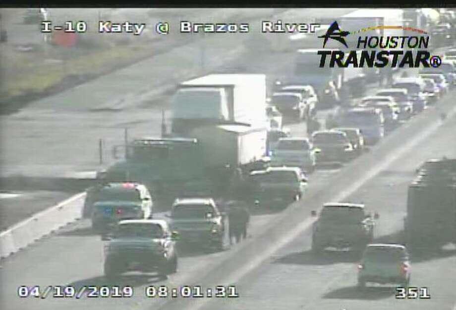 Interstate 10 closed at Brazos River after big rig crash
