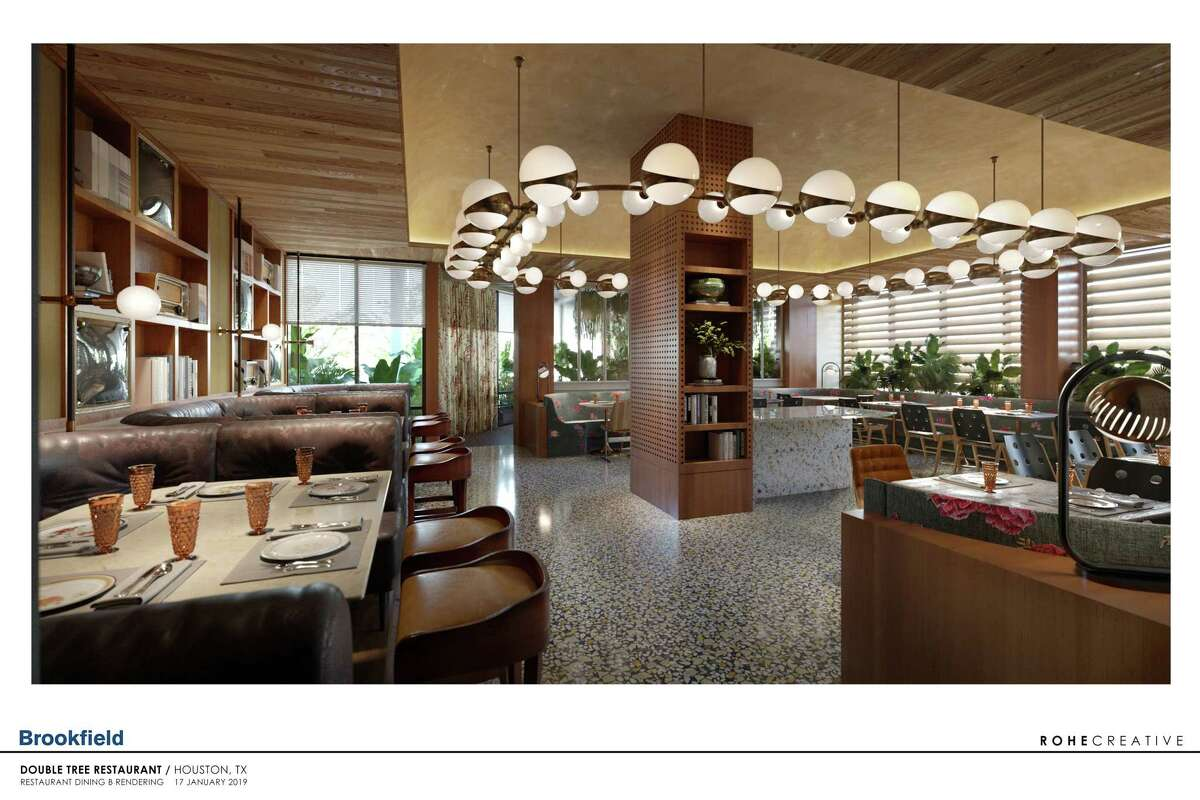 Rendering of the main dining room of Rosalie Italian Soul, designed by Kate Roher of ROHE Creative. The restaurant from chef Chris Cosentino will be in the new C. Baldwin Hotel in downtown Houston, opening September 2019.